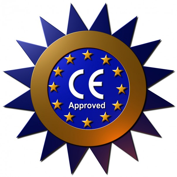 "A 3D blue and Gold Star with the text ""CE Approved"""