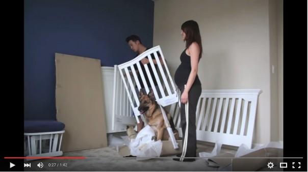 Family unpacking crib
